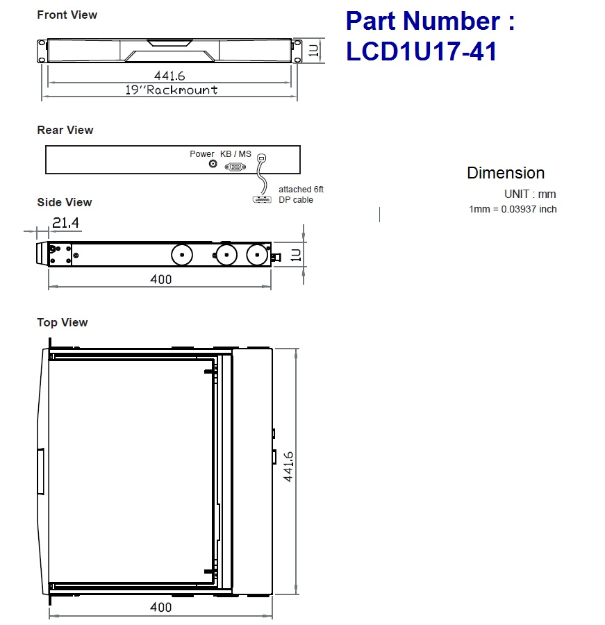 Short Depth 4k 17 1u Rack Kvm Console Nova Lcd1u17 41