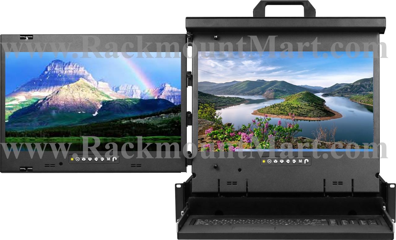 Dual 19 Inch Led Monitor 2u Rack Kvm Console Nova
