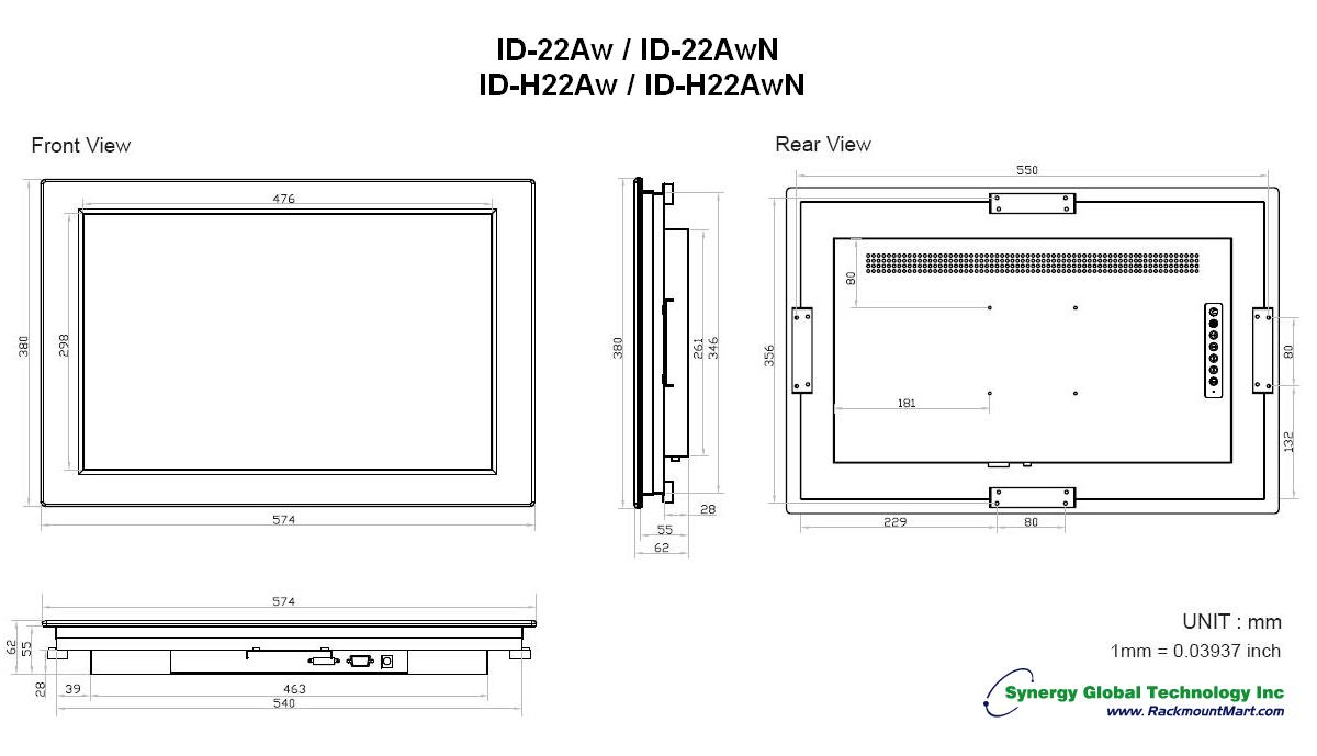 industrial monitors panel mount lcd id 22aw. Black Bedroom Furniture Sets. Home Design Ideas