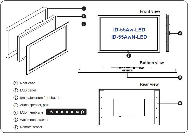 industrial lcd id 55aw led. Black Bedroom Furniture Sets. Home Design Ideas