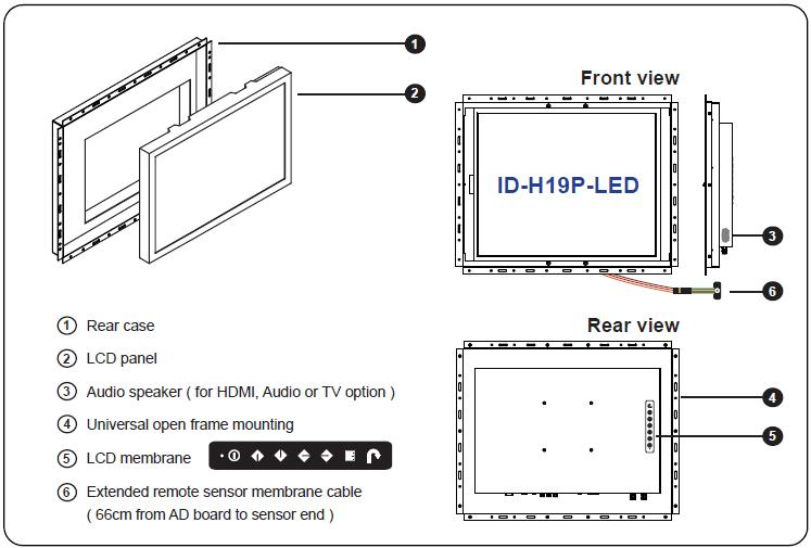 Id H19p Led 19 Quot Open Frame High Brightness Lcd With Led
