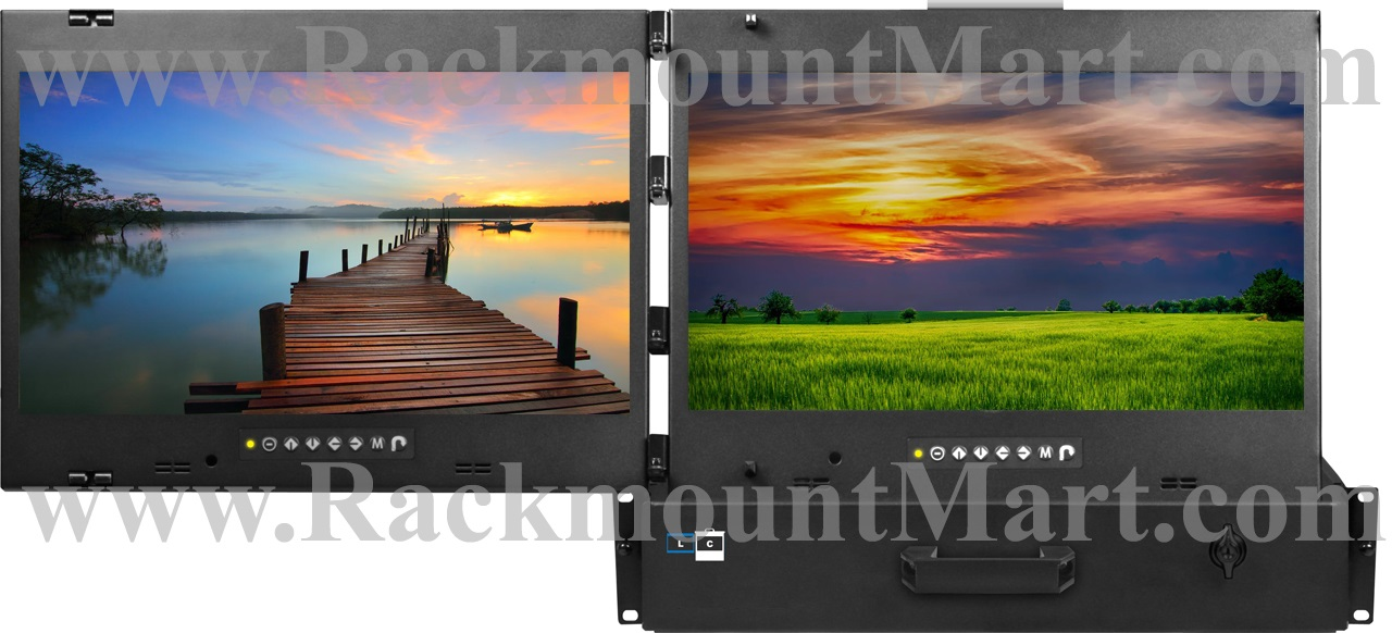 Multi Monitor Rack Drawer - 4K monitor, HD monitor and